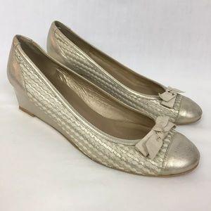 Stuart Weitzman Cap Toe Wedge Shoes Metallic 8.5